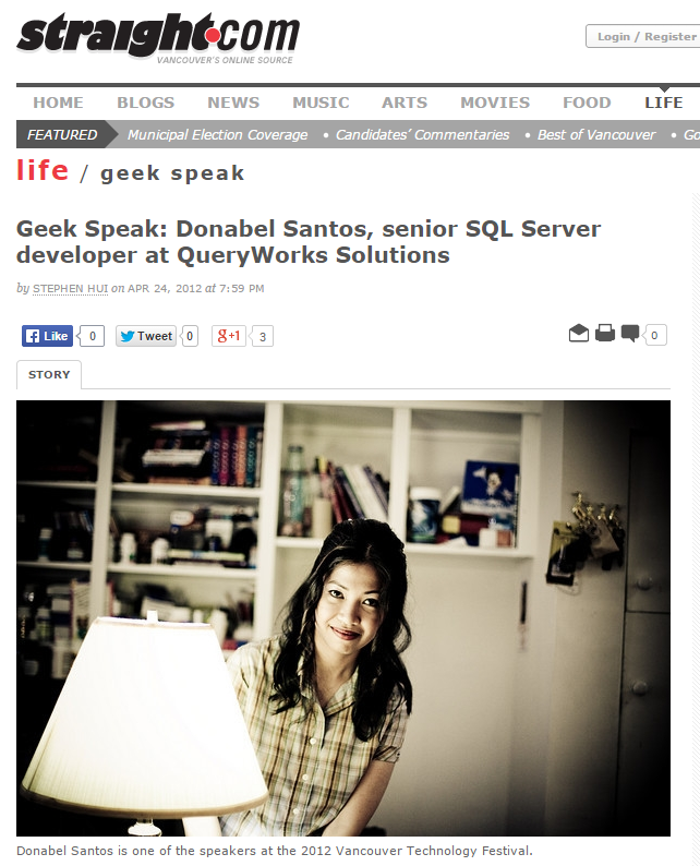 Donabel Santos - Featured in Georgia Straight Geek Speak
