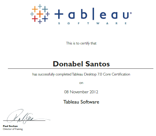 Tableau Desktop 7 Core Certified