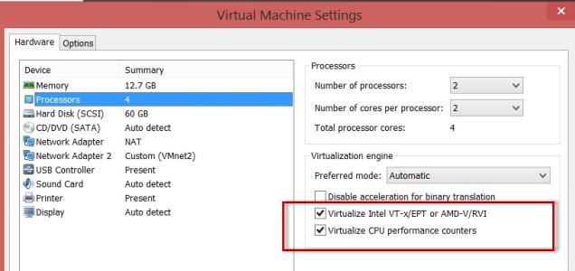 enable vm in settings