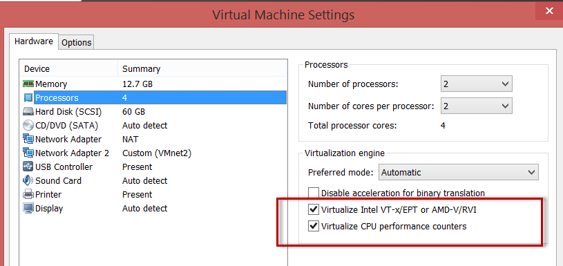 enable vm in settings