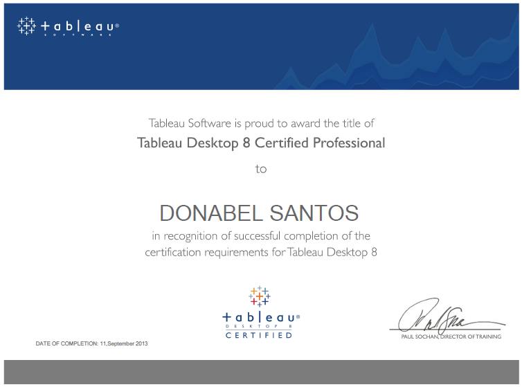 Tableau 8 Certified Professional