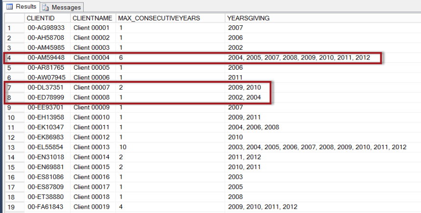 05 Max Consecutive Years and Year List