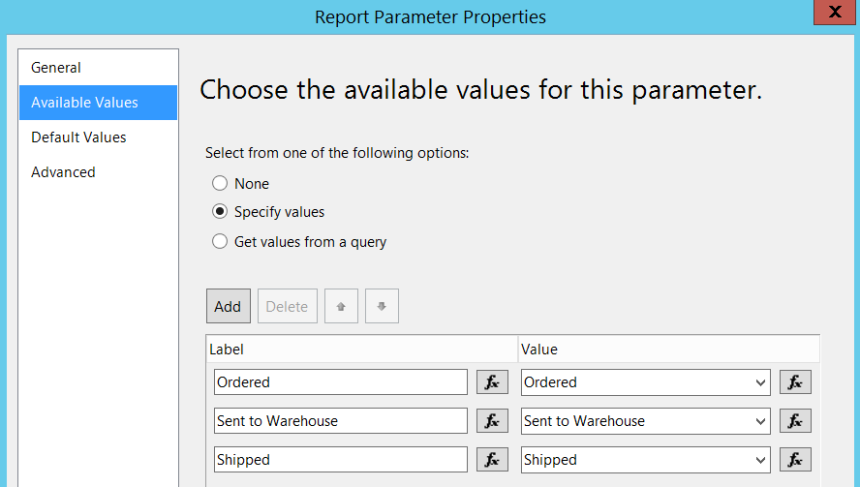 SSRS Available Values for Parameters